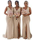 V Neck Slit Wedding Evening Bridesmaid Party Dresses Long Chiffon Prom Formal Evening Gown for Women Champagne 2021