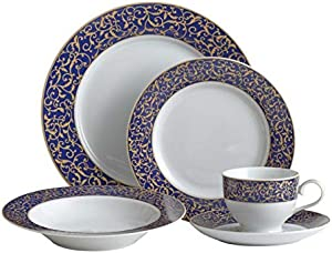 Mikasa Parchment Cobalt 40 Piece Dinnerware Set, Service for 8