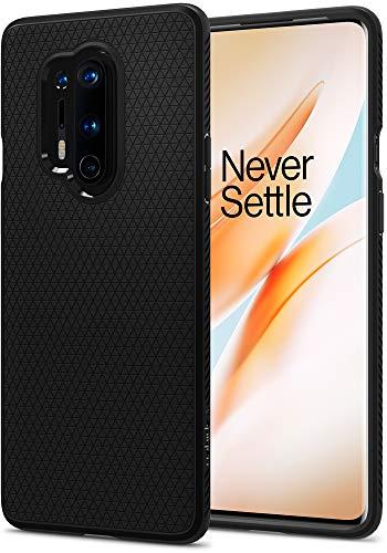 Spigen Liquid Air Kompatibel mit OnePlus 8 Pro Hülle Stylisch Muster Design Silikon Handyhülle mit Luftpolster Schutzhülle Capsule OnePlus 8 Pro Case Schwarz