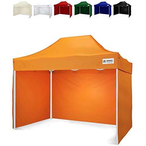 Gartenzelt mit 3 Wänden mit Schutzhülse BRIMO Exclusive Stahl (2x3m, Orange)