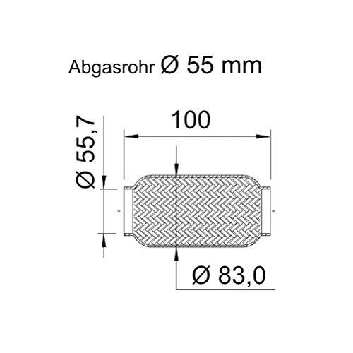 ERNST 460217 Flexrohr, Abgasanlage Flexstück, Flexrohr