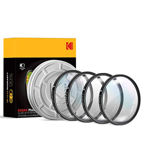 KODAK 46mm Close-Up Filter Set w/Mini Guide   Pack of [4] +1, 2, 4, 10 Macro Lens Filters   Achieve Greater Magnification, Clarity & Focus for Close Up Photography  MultiCoated 16-Layer Nano Glass