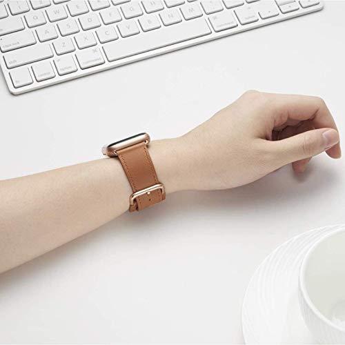 Adecuado para correas de cuero de la generación 1/2/3/4/5/6 de Apple Watch. Las correas de IWatch son compatibles con correas de cuero de grano superior de 38/40/42/44 mm para hombres y mujeres