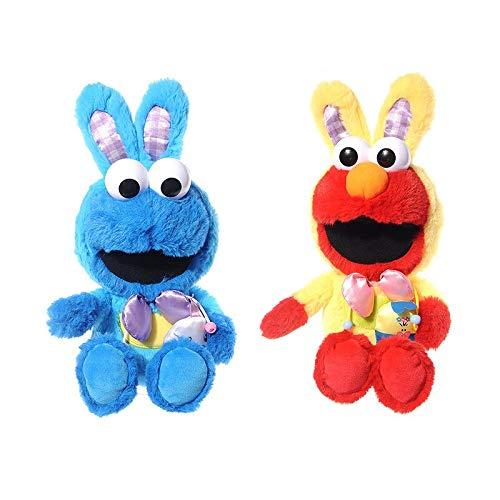 LMHH Barrio Sésamo Pascua Vestir Conejo Elmo Monstruo De Las Galletas Muñeco De Peluche Juguete De Peluche Regalo para Niños 23Cm 2Pcs