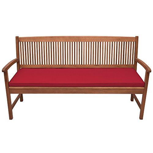 Beautissu Colchonetas para Bancos Base BK Cojines para Bancos con Costura de Rombos - comodísmo y desenfundable - 120x48x5cm Rojo