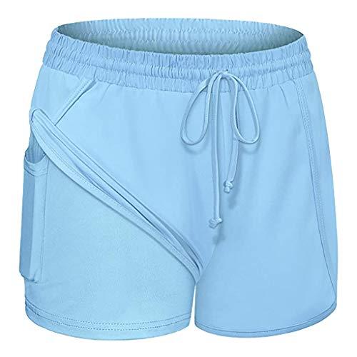 OUICE Homme Damen Nackte Empfindung Hohe Taille Yoga Sporthose Laufshorts Mit Taschen