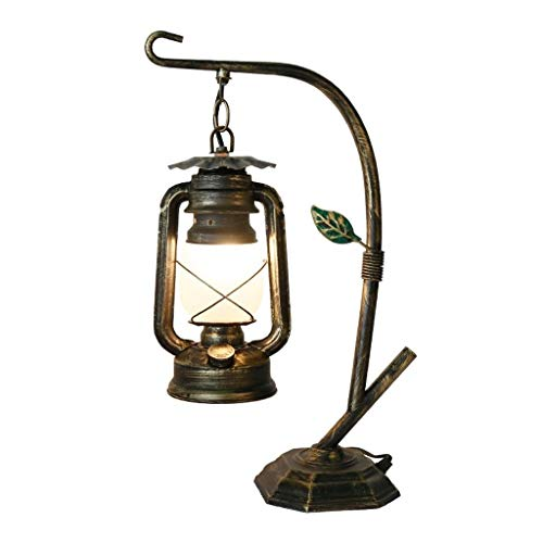 Lámpara de Mesa De la Apariencia Vintage de la Novedad de la lámpara de Escritorio Mesa rústica lámpara de la Linterna de la Sala Dormitorio lámpara de Mesa Lámparas de Mesa de Hierro (Bronce) Mesita
