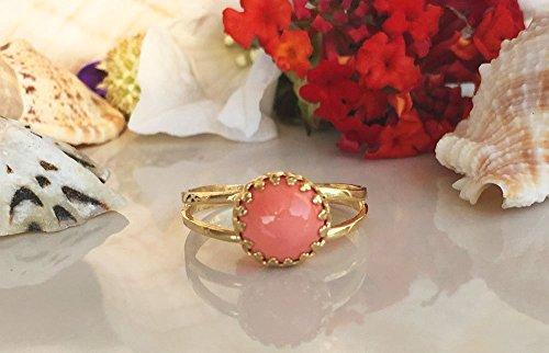 Coral Ring - Crown Ring - Round Gem Ring - Pink Ring - Gemstone Ring -...