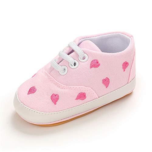 MASOCIO Babyschuhe Mädchen Lauflernschuhe Sneaker Baby Schuhe Anti-Rutsch Größe 18 3-6 Monate Pink