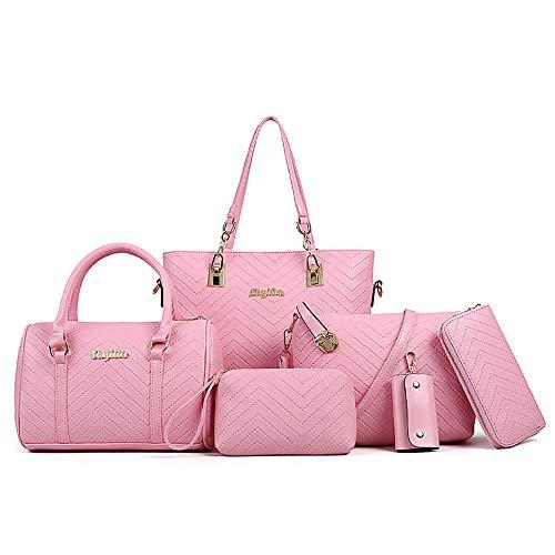 AlwaySky Juego de 6 bolsos de mano para mujer de piel sintética con asa superior, bolso para la compra, cartera, bandolera., color, talla 1