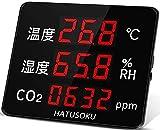 HATUSOKU 大画面 二酸化炭素濃度計 CO2測定器 CO2モニター 温度 湿度 空気品質 アラーム機能 コロナ対策