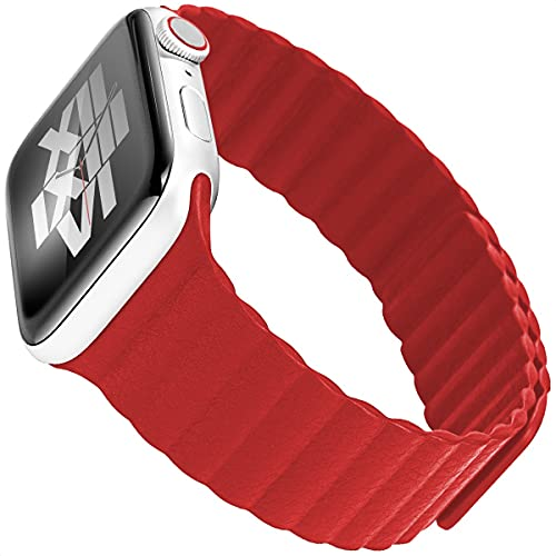 MOCOLL Compatible with Apple iWatch Band Magnetic Fiber Replacement Wristband 42mm 44mm Compatible for iWatch Series 6 5 4 3 2 1 SE Women Men Red