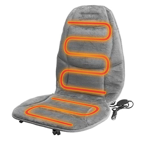 HealthMate IN9438-2 12V Velour Winter Seat Cushion with Lumbar Support, Heating with Easy Controller, Color Gray, Products by Wagan