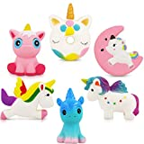 Unicorn Squishy Toys Squishies - 6 Pack Unicorn Squishies Jumbo Horse Kawaii Soft Scented Animal Squishies Pack Unicorn Gifts for Girls Galaxy Squishy Unicorn Birthday Party Favors Easter Egg Fillers