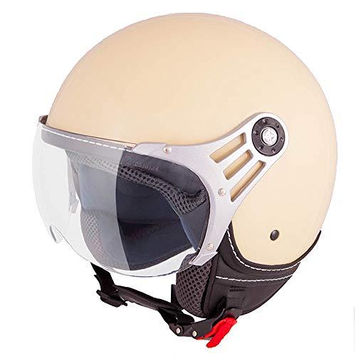 Casco moderno de moto Vinz, tipo jet, color crema en tallasXS - M, casco con visera, certificado ECE