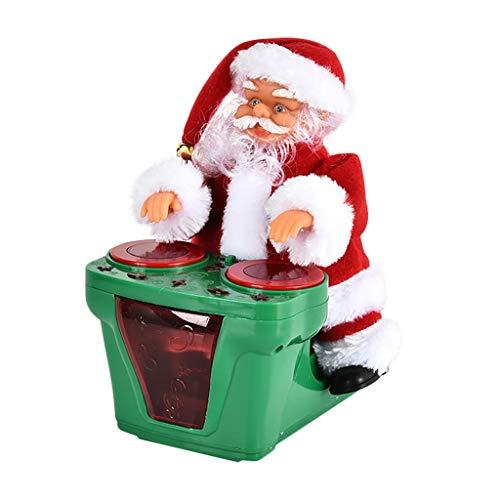 Dasongff Weihnachten elektrische Weihnachtsmann Puppe singen und tanzen animierte Plüschtiere mit Mini-Fallschirm Hula Hoop batteriebetriebene Musik Weihnachtsfeiertag Beste Girft für Kinder