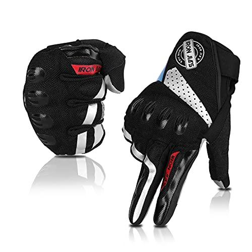 Motorradhandschuhe, Vollfinger, atmungsaktiv, Motorradhandschuhe, Touchscreen, Knöchelhandschuhe