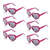 Onnea 6 Coppie Set Forma di Cuore Occhiali da Sole Festa per Bambini Uomo Donna (6-Pacco Rosa Brillante)