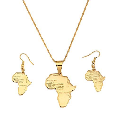 RelianceUK 24 K Oro Color Latón Africano Mapa Collar Pendientes Conjunto De Joyas para Mujeres De África Joyería De Fiesta De Boda