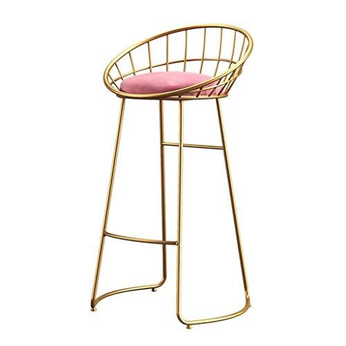 Bijzetstoel Barkruk met rugleuning Spons metalen poten Kitchen Kruk, Staafstoel Retro Restaurant Hoge Kruk Staafstoel Barkruk zithoogte 65 / 75cm (Color : Gold, Size : 75cm)