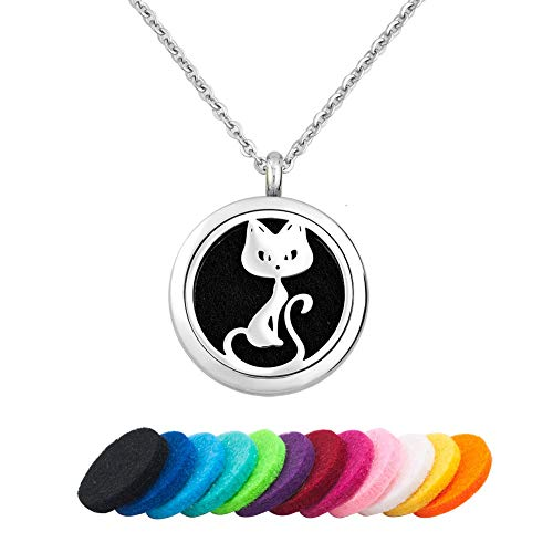 CLY Jewelry Essential Oil Locket Kitten Pets Cat Pendant Animal Aromatherapy Diffuser Necklace