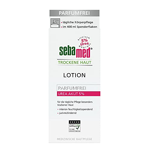 Sebamed Trockene Haut Urea Akut 5% Lotion parfumfrei 400 ml , Feuchtigkeits-Lotion mit Süßmandelöl für Männer und Frauen, lindert spürbar Juckreiz und hilft sehr trockene Haut zu...