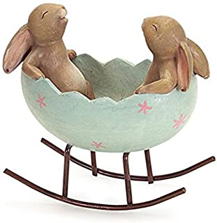Laughing Bunny Rabbits Rocking in an Easter Egg Cradle Spring Easter Decoration Vintage Rustic Country Bunnies Rabbit Figu...