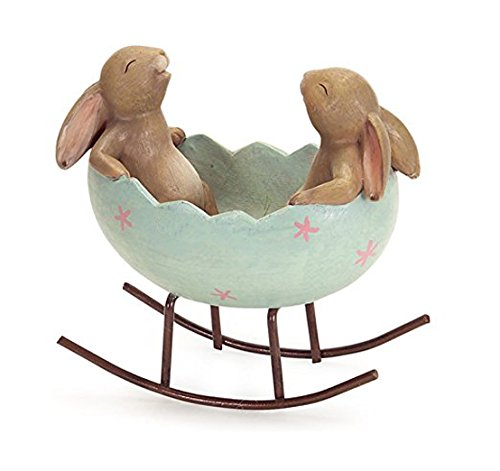 Laughing Bunny Rabbits Rocking in an Easter Egg Cradle Spring...