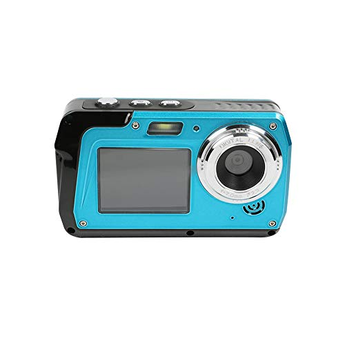Iriisy - 48MP Cámara Impermeable Digital con Pantalla Dual, 1080p HD Camara Acuática Submergible Anti-Vibración, Micrófono Interior, Zoom Digital 16X, para Fotos Selfie Deporte (Azul)