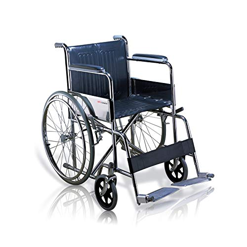 VMS Careline Comfort Pneumatic Wheel Regular Folding Manual Wheelchair with Safety Belt (Spoke Wheels)-