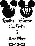 Personalisierte Namensaufkleber Braut und Bräutigam Braut Bräutigam Heirat, Hochzeit Krawatte der Knoten Mrs. Initials Vinyl Designs Save The Date Walls Mickey Ears Happy Größe 38,1 x...