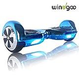 Windgoo N1 Overboard Hoverboard, 6.5 Pulgadas 250W 2WD Glyboard, Actualiza con Luz LED, Regalo para Niño Adulto (ChromeBlue)