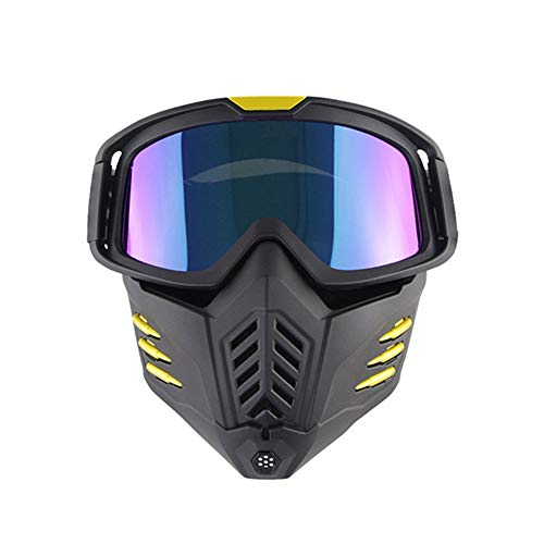 Gafas Al Aire Libre, 2 En 1 Gafas De Máscara con Gafas Extraíble Y Filtro De Boca, 2020 Nuevos Hombres Y Mujeres del Estilo De Gafas De Esquí, Gafas Y Gafas De Sol De Carreras De Motocross,A
