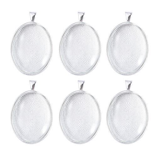 SUPVOX 6 stücke DIY Oval Anhänger Kit Anhänger Trays Legierung Halskette anhänger Legierung Anhänger Trays Glascabochon Dome Fliesen