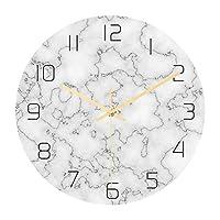 クリエイティブな3D大理石の壁時計モダンなデザインのリビングルームの装飾ユニークな時計の壁時計家の装飾サイレントムーブメント-12インチ