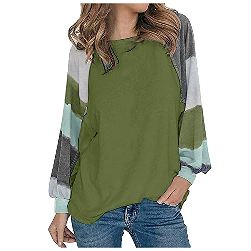 TYTUOO Women Autumn Casual Long Sleeves Top Sweatshirt Splicing T-Shirt Loose Pullover O-Neck Blouse Color Block Tunic Young Style(A-Green,L)