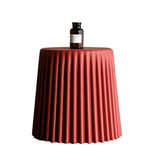 COUYY Antiarrugas Plástico Café Mesa de Ocio Note de Noche Pequeña Mesa Redonda Taburete Creativo Take Decoración del hogar,Rojo