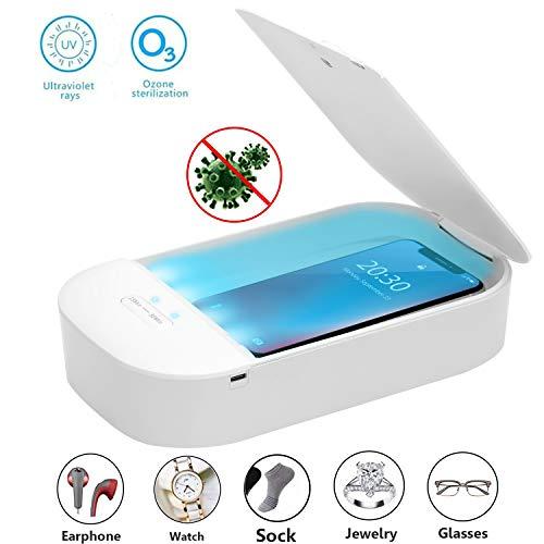 UV Light Sanitizer Box UV Disinfection Box for Smartphone Nail Art Make Up Tools Clinically Proven UV Light Disinfector UV Phone Sanitizer Smartphone Sterilizer 1-Pack, White(EPA No. 97776-CHN-1