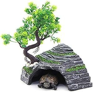 OMEM Reptile Box Shelter Terrarium Hideout Caves Turtle Ramp Basking Platform Habitat Decor Humidify Hide Cave Resin Rock