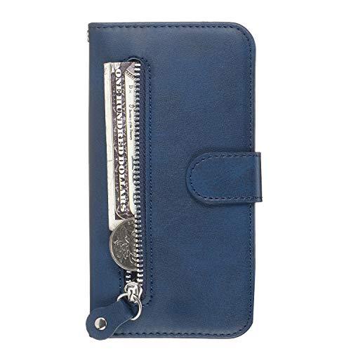 Lomogo Galaxy A20 / A30 Hülle Leder, Schutzhülle Brieftasche mit Kartenfach Klappbar Magnetverschluss Stoßfest Kratzfest Handyhülle Case für Samsung Galaxy A20 / A30 - LOYYO070042 Blau