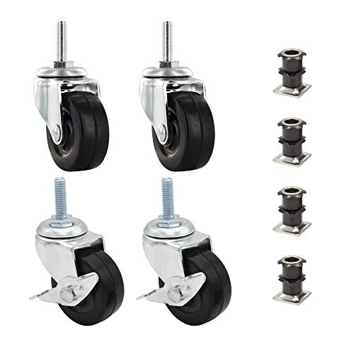 3/4' Square Metal Double Star Caster Insert   5/16-18 Threaded Stem   2' Wheel Diameter Industrial Casters   2 With Brakes and 2 Without Brakes by Outwater