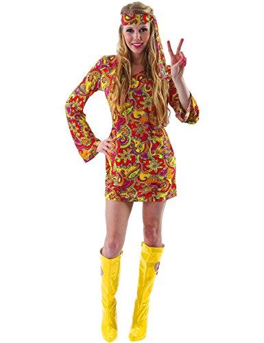 ORION COSTUMES Disfraz de Festival Hippie de los años 60 con Diseño Cachemira Naranja para Mujeres