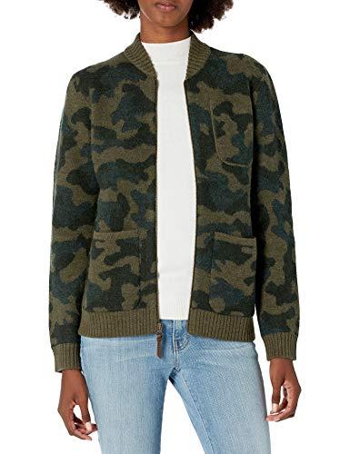 Pendleton Women's Boiled Wool Bomber Jacket, Olive Camo, XL