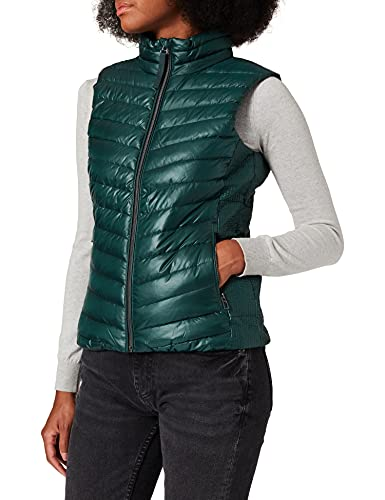 Tom Tailor 1026518 Ultra Lightweight Chaleco Guateado, 10771-Dark Pine Green, XL para Mujer