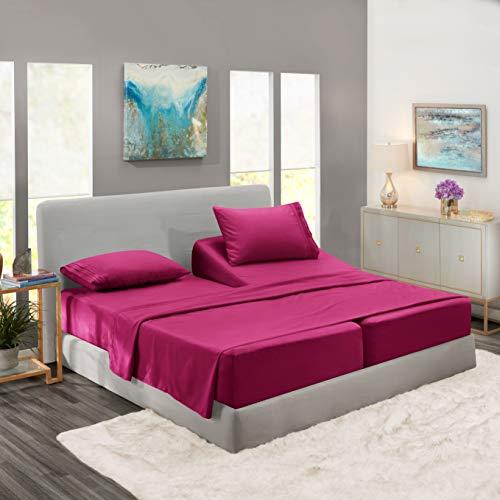 Nestl Bedding Soft Sheets Set – 5 Piece Bed Sheet Set, 3-Line Design Pillowcases – Easy Care, Wrinkle Free – 2 Fit Deep Pocket Fitted Sheets – Free Warranty Included – Split King, Magenta