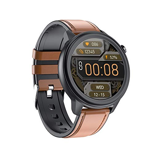 TYOP Smart Watch, 1.28 Círculo Completo Táctil Completo, detección de sueño precisa, Pulsera IP68 a Prueba de Agua Multi-Deporte (Color : Brown Leather)