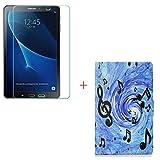 szjckj Protector de Pantalla + PU Carcasa para Samsung Galaxy Tab A 8.0' SM-T350 Tablet, Funda Protectora con Función de Soporte - HD Cristal Vidrio Templado Protector - LW22