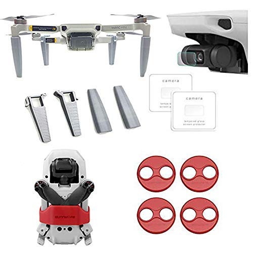 Linghuang Kit de Accesorios para dji Mavic Mini Soporte de Hélice + Tren de Aterrizaje + Protector de Pantalla + Motor de Campana Accesorios de Protección para Drones (Rojo)