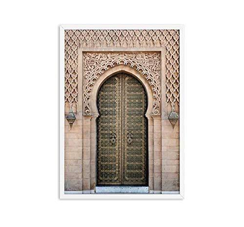 Mosche muurkunst oude poorten Marokko deur canvas schilderij vintage poster kunstwerk afbeeldingen architectuur afdrukken voor de woonkamer 1 50X70cm B