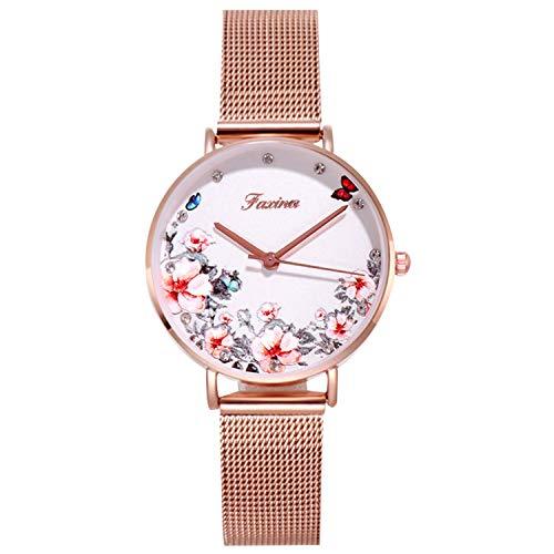 RORIOS Relojes de Mujer Flor Dial Pulsera Acero Inoxidable Correa Relojes de Pulsera para Mujeres Reloj de Pulsera Reloj de Dama
